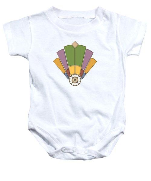 Art Deco Fan 2 Transparent Baby Onesie