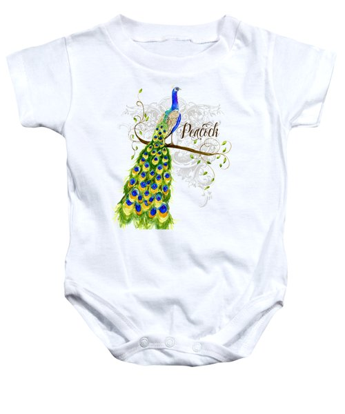 Art Nouveau Peacock W Swirl Tree Branch And Scrolls Baby Onesie by Audrey Jeanne Roberts