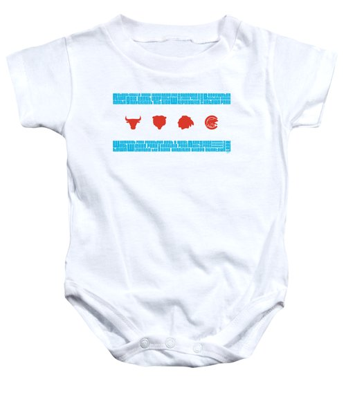 Chicago Flag Sports Teams Baby Onesie by Mike Maher