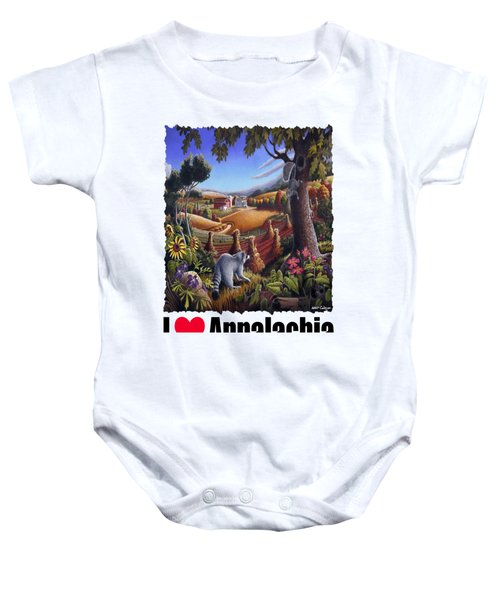 I Love Appalachia - Coon Gap Holler Country Farm Landscape 1 Baby Onesie by Walt Curlee