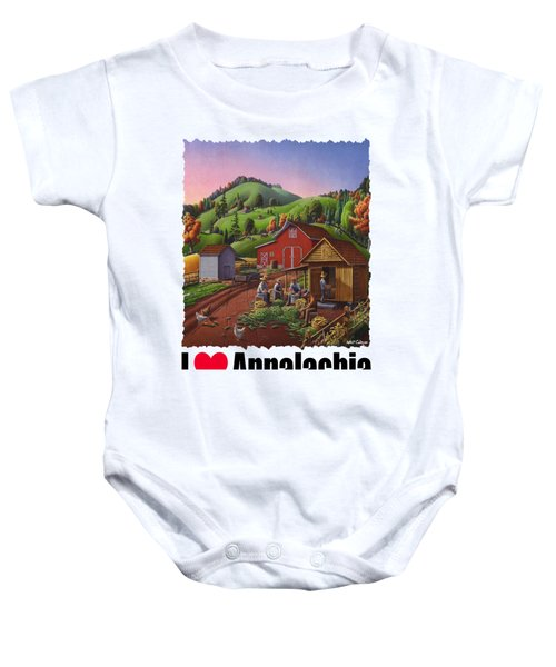 I Love Appalachia - Farmers Shucking Corn And Storing In Corncrib - Corn Crib Baby Onesie