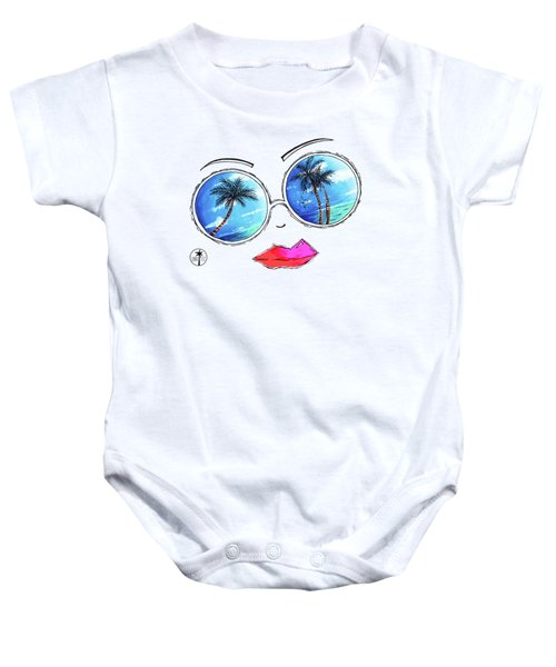 Tropical Reflection Pop Art Painting From The Aroon Melane 2015 Collection By Madart Baby Onesie