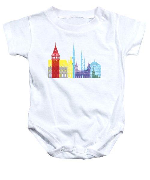 Istanbul Skyline Pop Baby Onesie by Pablo Romero