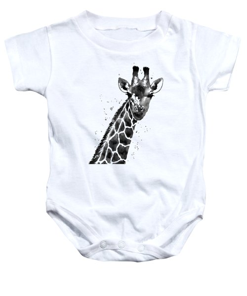 Giraffe In Black And White Baby Onesie by Hailey E Herrera