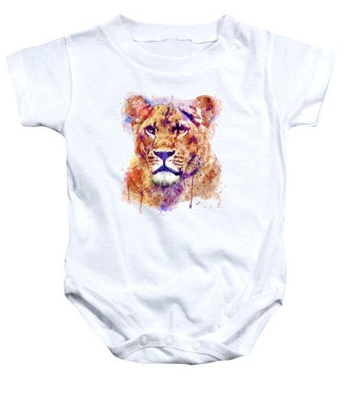 Lioness Head Baby Onesie by Marian Voicu