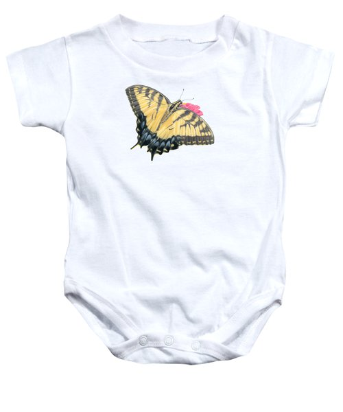 Swallowtail Butterfly And Zinnia- Transparent Backgroud Baby Onesie