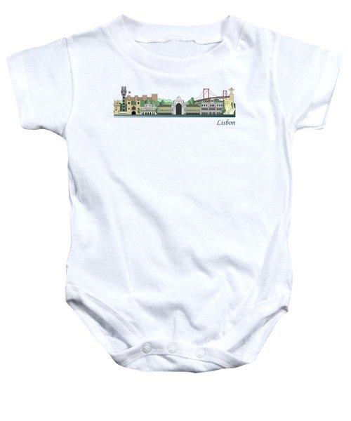 Lisbon Skyline Colored Baby Onesie
