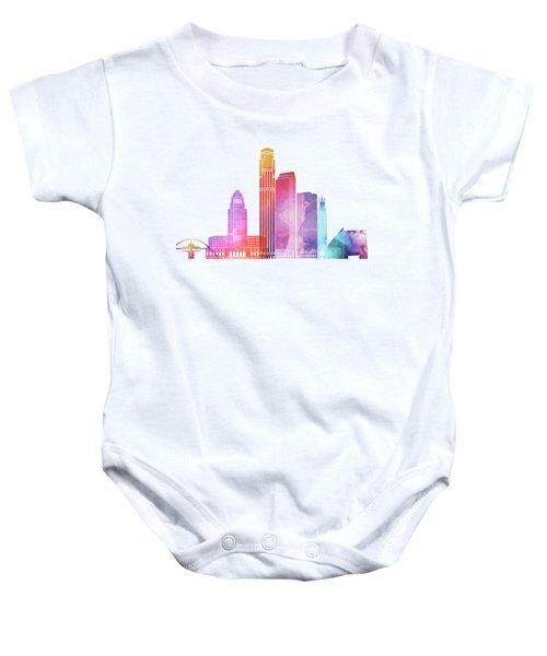 Los Angeles Landmarks Watercolor Poster Baby Onesie