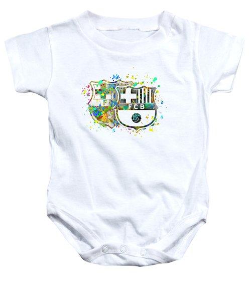 Tribute To F C Barcelona 7 Baby Onesie by Alberto RuiZ