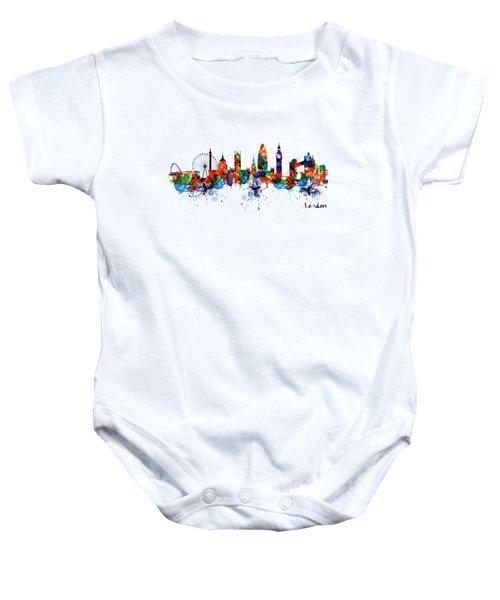 London Watercolor Skyline Silhouette Baby Onesie