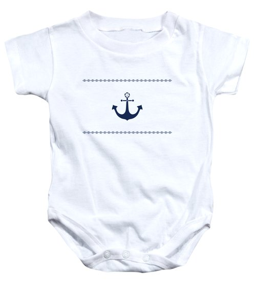 Anchor With Knot Border In Blue Baby Onesie