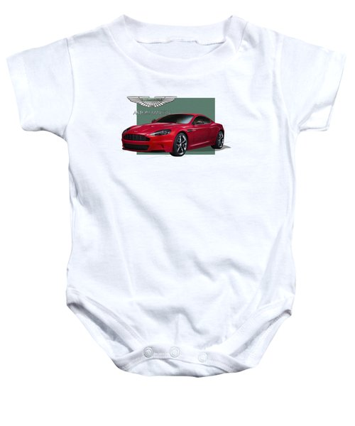 Aston Martin  D B S  V 12  With 3 D Badge  Baby Onesie by Serge Averbukh