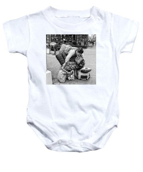 Baby Onesie featuring the photograph Bag Lady by Eric Lake