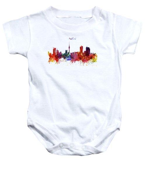 Auckland Watercolor Skyline Baby Onesie