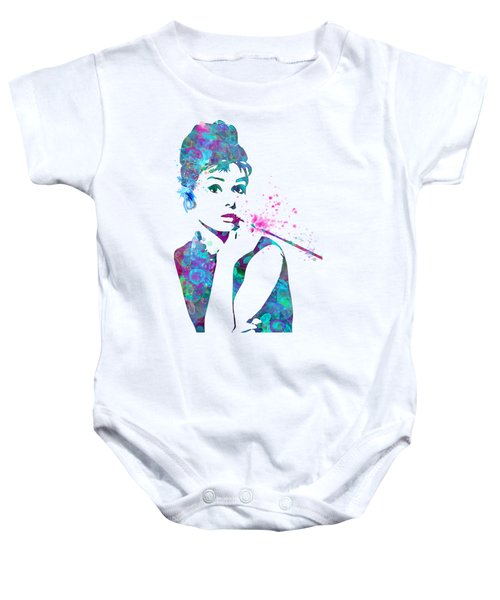 Audrey Hepburn Watercolor Pop Art  Baby Onesie by Mary Alhadif