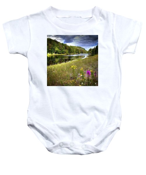 Baby Onesie featuring the photograph August Flowers On The Pond by David Patterson