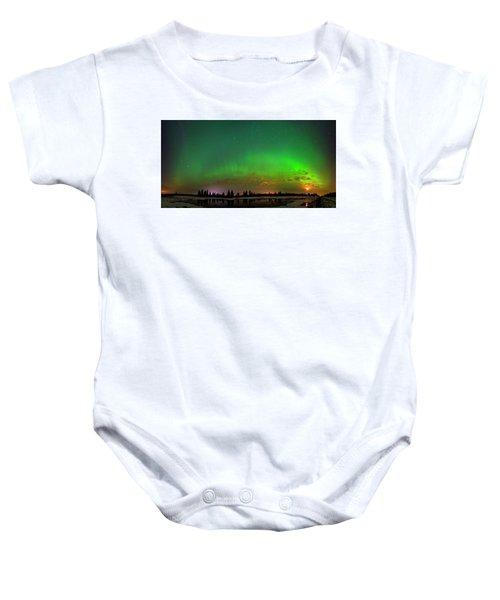 Aurora Over Pond Panorama Baby Onesie