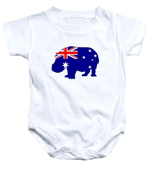 Australian Flag - Hippopotamus Baby Onesie by Mordax Furittus