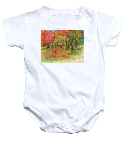 Autumn Forest Watercolor Illustration Baby Onesie