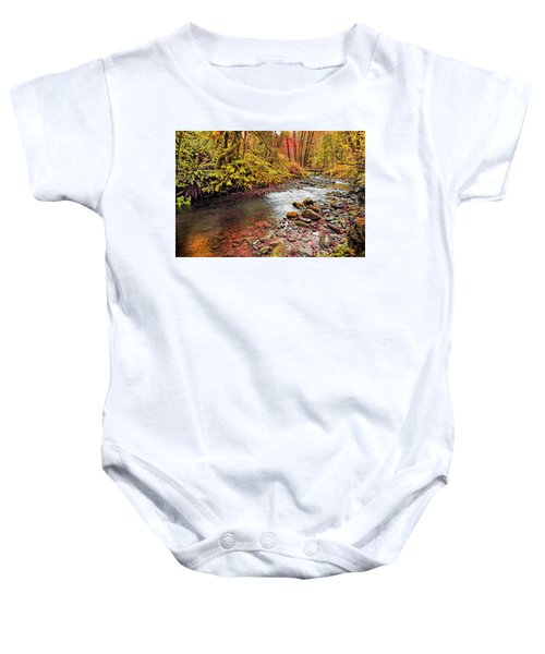 Autumn Sunrise In An Oregon Rain Forest  Baby Onesie