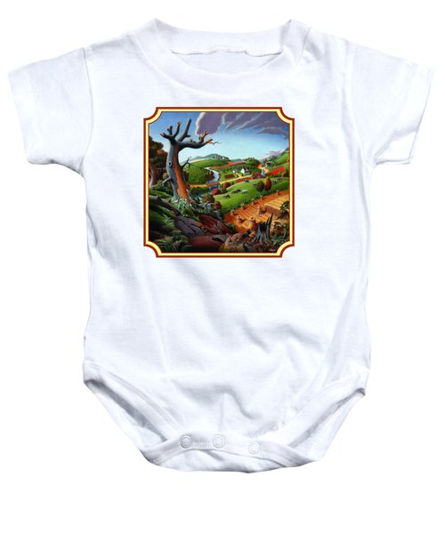Autumn Wheat Harvest Country Farm Life Landscape - Square Format Baby Onesie