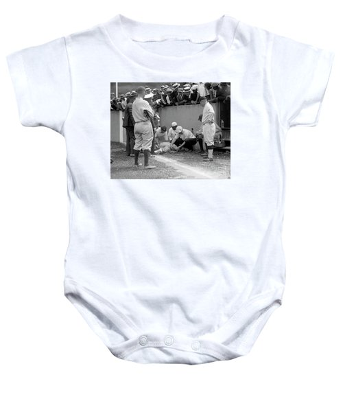Babe Ruth Knocked Out By A Wild Pitch Baby Onesie