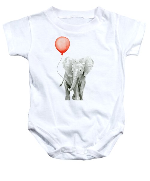 Baby Elephant Watercolor Red Balloon Baby Onesie