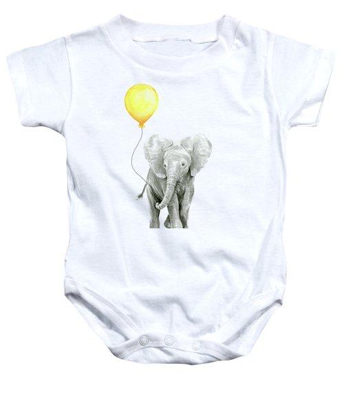 Baby Elephant Watercolor With Yellow Balloon Baby Onesie