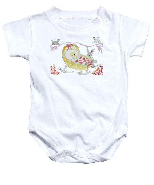 Baby Girl With Bunny And Birds Baby Onesie