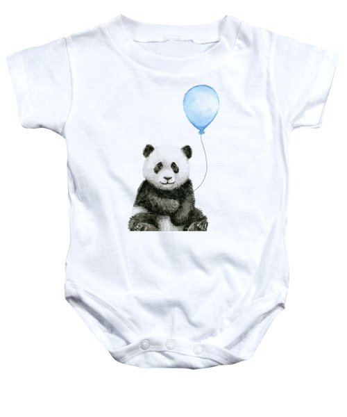 Baby Panda With Blue Balloon Watercolor Baby Onesie