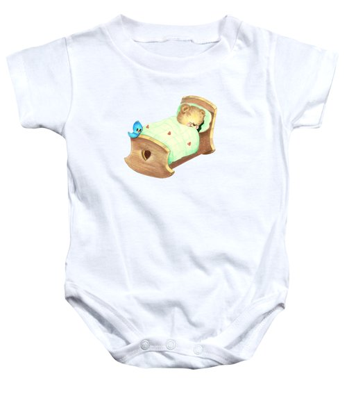Baby Teddy Sweet Dreams Baby Onesie by Linda Lindall