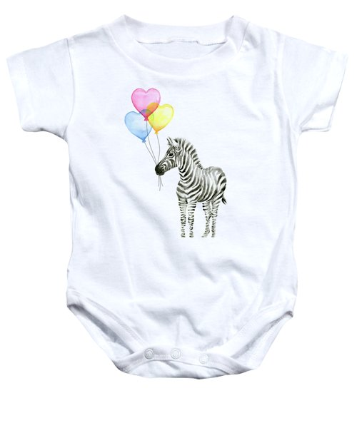 Baby Zebra Watercolor Animal With Balloons Baby Onesie
