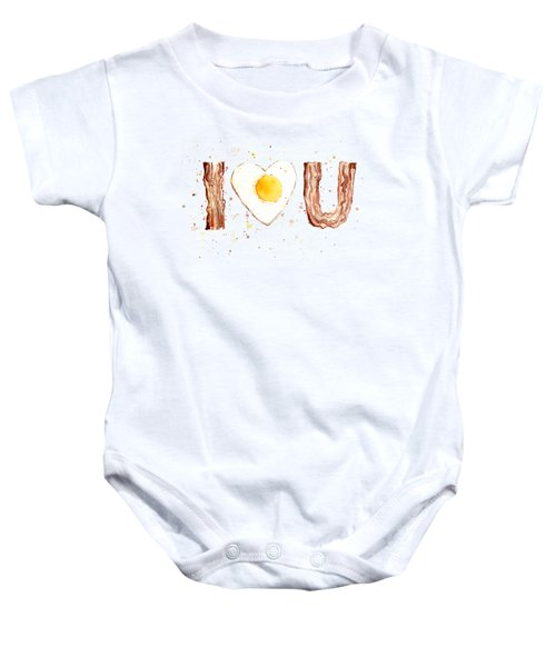 Bacon And Egg Love Baby Onesie by Olga Shvartsur