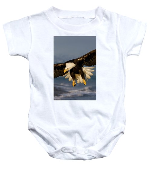 Bald Eagle In Action Baby Onesie