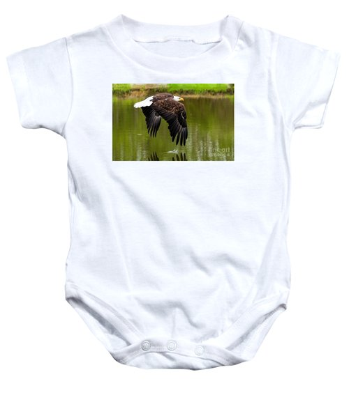 Bald Eagle Over A Pond Baby Onesie