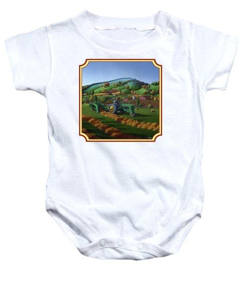 Baling Hay Field - John Deere Tractor - Farm Country Landscape Square Format Baby Onesie by Walt Curlee