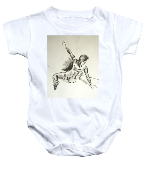 Ballet Dancer Sitting On Floor With Weight On Her Right Arm Baby Onesie