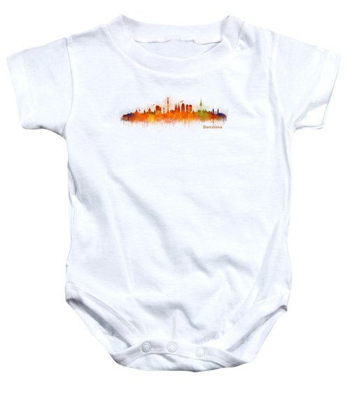 Barcelona City Skyline Hq _v3 Baby Onesie by HQ Photo