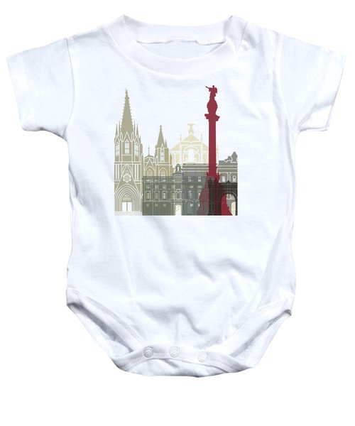Barcelona Skyline Poster Baby Onesie