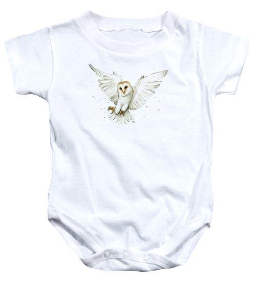 Barn Owl Flying Watercolor Baby Onesie