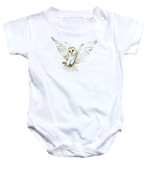 Barn Owl Flying Watercolor Baby Onesie