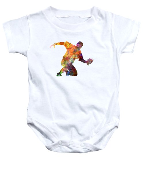 Baseball Player Catching A Ball Baby Onesie by Pablo Romero