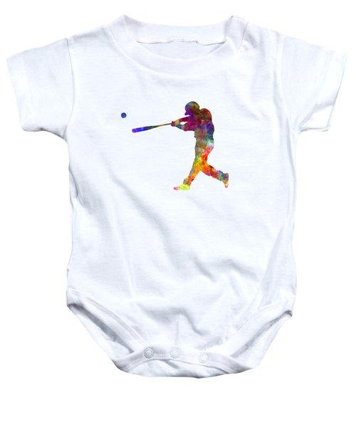 Baseball Player Hitting A Ball 02 Baby Onesie by Pablo Romero