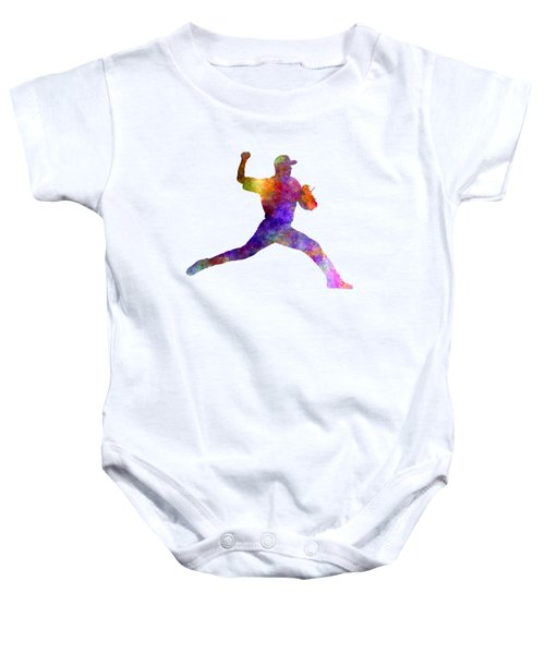 Baseball Player Throwing A Ball 01 Baby Onesie by Pablo Romero