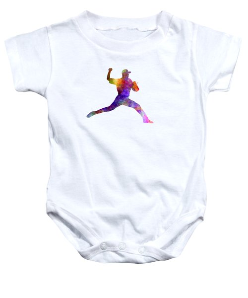Baseball Player Throwing A Ball 01 Baby Onesie