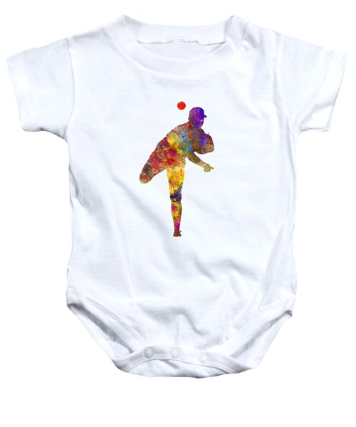 Baseball Player Throwing A Ball Baby Onesie by Pablo Romero