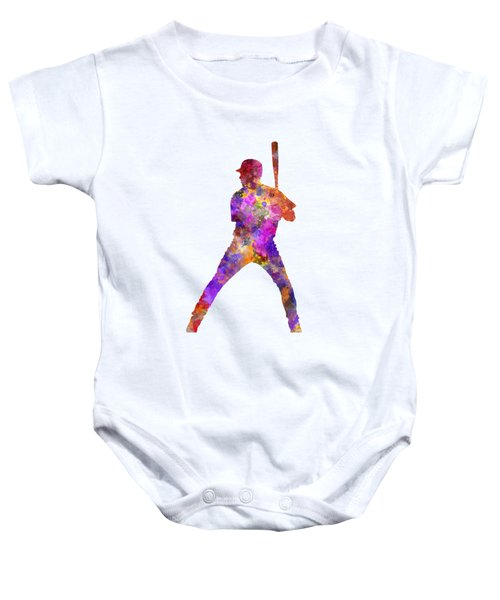 Baseball Player Waiting For A Ball Baby Onesie by Pablo Romero