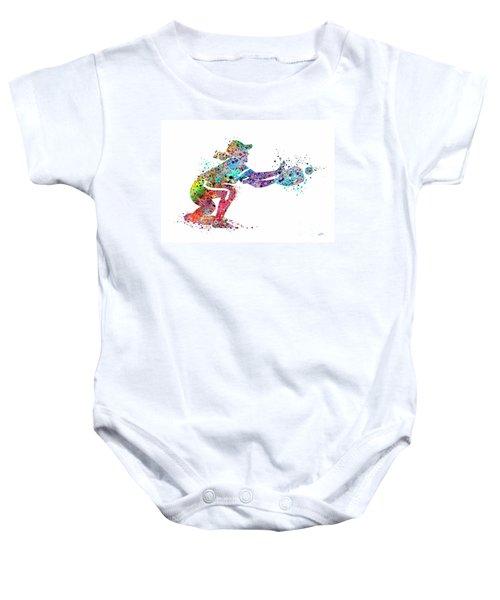 Baseball Softball Catcher 2 Sports Art Print Baby Onesie by Svetla Tancheva