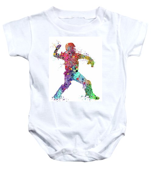 Baseball Softball Catcher 3 Watercolor Print Baby Onesie
