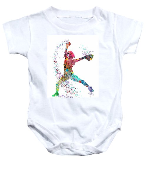 Baseball Softball Pitcher Watercolor Print Baby Onesie